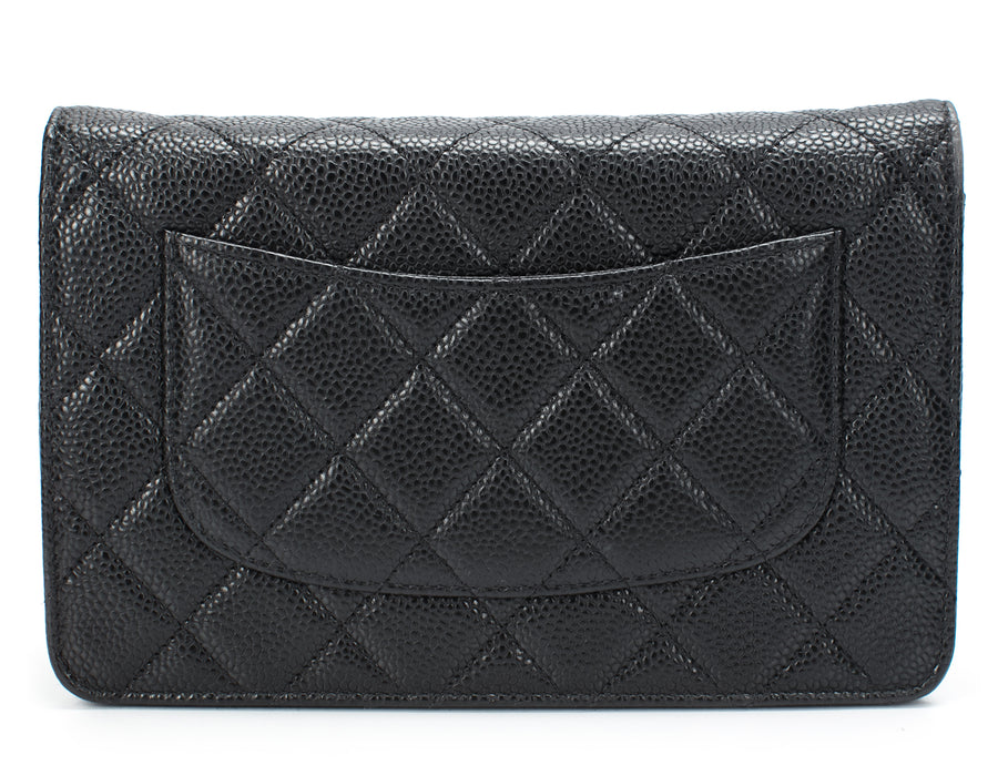 Chanel Black Caviar Quilted WOC Wallet on Chain Bag