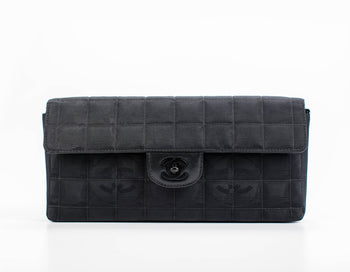 Chanel Black Nylon Travel Ligne E/W Flap Bag