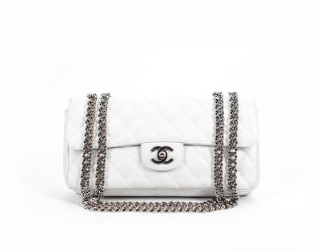 Chanel White Caviar E/W Bijoux Chain Flap Bag