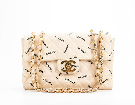 Chanel Beige Quilted Canvas Logo Vintage Jumbo Single Flap Bag