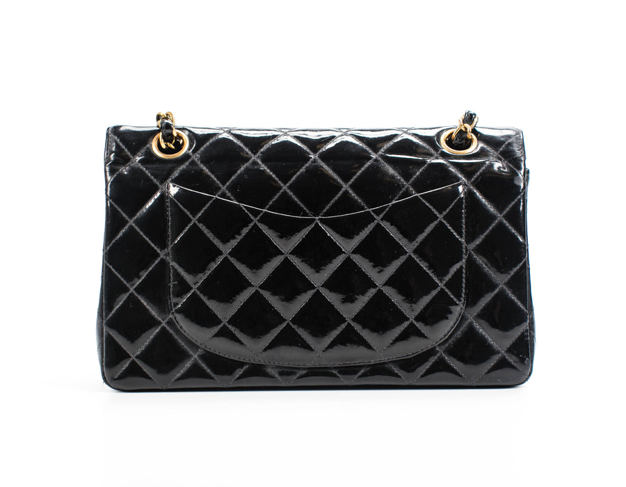 Chanel Black Patent Leather Small Double Flap Bag