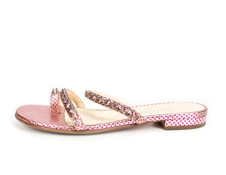 Chanel Pink Polka Dot Leather and Chain Sandals Sz 36