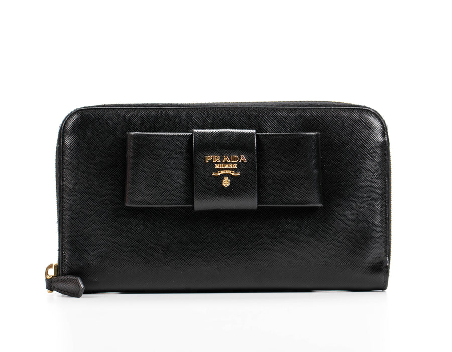 Prada Black Saffiano Bow Zip Around Wallet