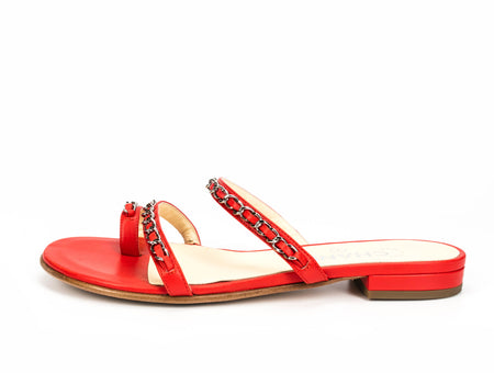 Chanel Red Leather and Chain Sandals Sz 36