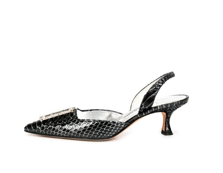 Manolo Blahnik Grey Watersnake Slingbacks Sz 36.5