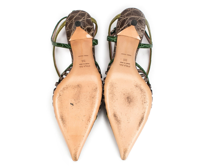 Prada Grey and Green Crocodile Slingback Kitten Heels Sz 36
