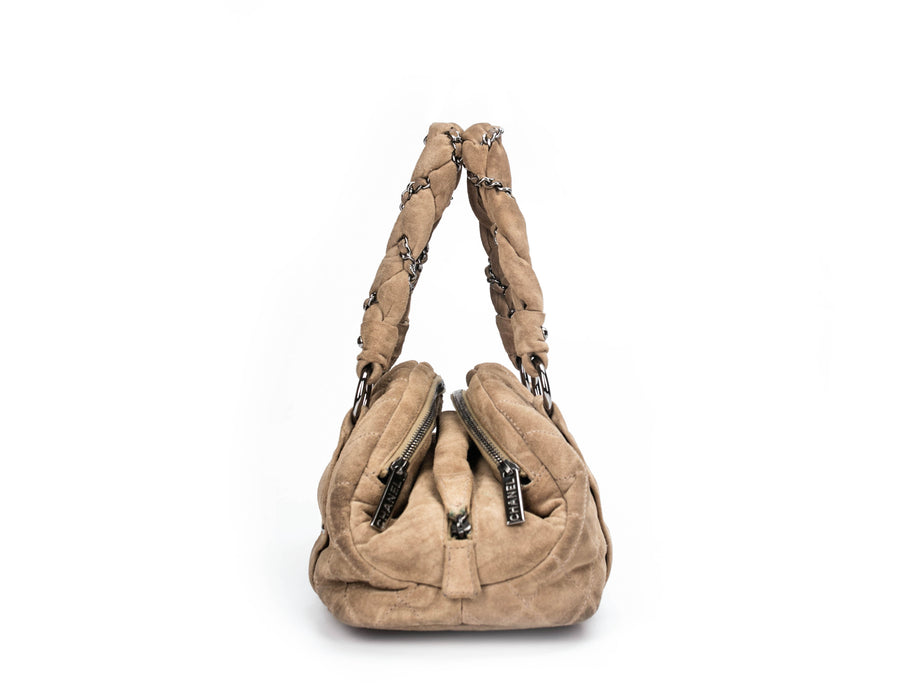 Chanel Brown Suede Lady Braid Bowling Bag