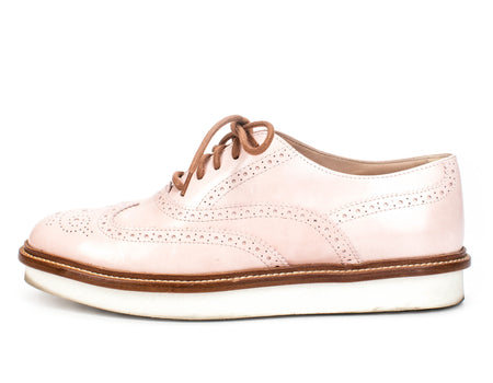 Tod's Pink Patent Leather Wingtip Loafers Sz 36