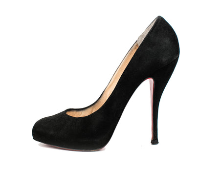 Christian Louboutin Black Suede Round Toe Pumps Sz 38.5