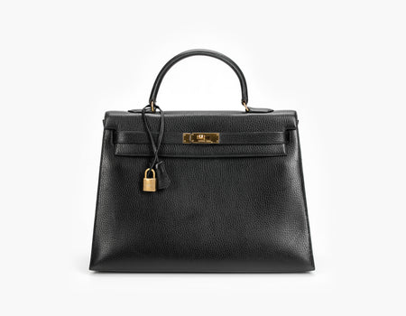 Hermes Black Ardennes Sellier Kelly 35cm Bag