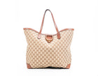Gucci Monogram Canvas Brown Leather Soft Stirrup Tote Bag