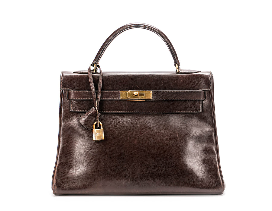 Hermes Ebene Courchevel Kelly Retourne 32cm Bag