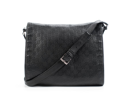 Gucci Black Guccissima Large Messenger Bag
