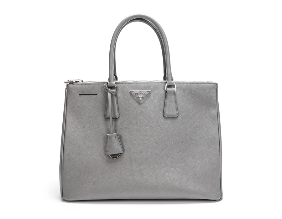 Prada Grey Saffiano Double Zip Lux Tote Bag