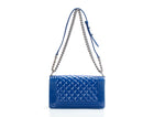 Chanel Royal Blue Patent Leather Plexiglass Old Medium Boy Bag