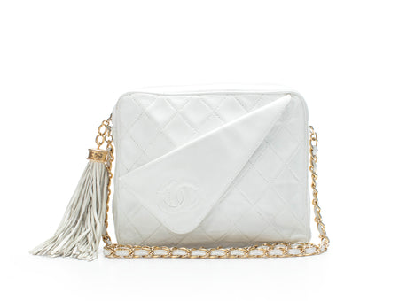 Chanel White Lambskin Vintage Classic Camera Bag