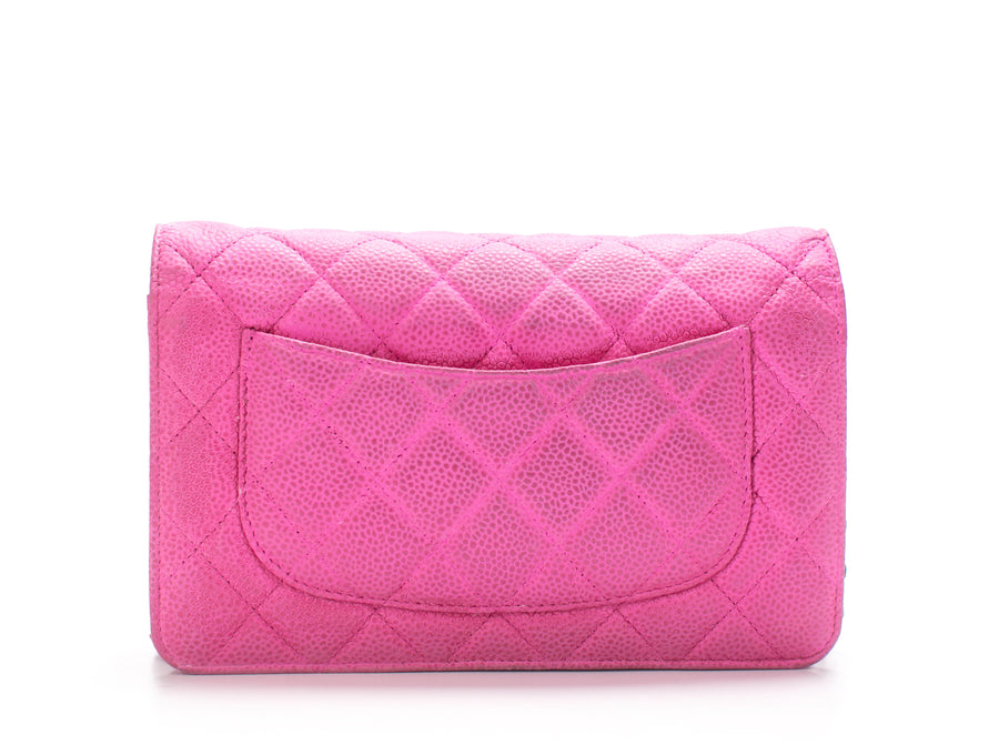 Chanel Fuchsia Iridescent Caviar WOC Wallet on Chain Bag