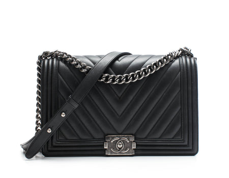 Chanel Black Calfskin Chevron New Medium Boy Bag