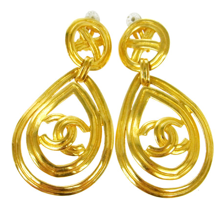 Chanel Vintage CC Logo Gold-Tone Clip-On Earrings