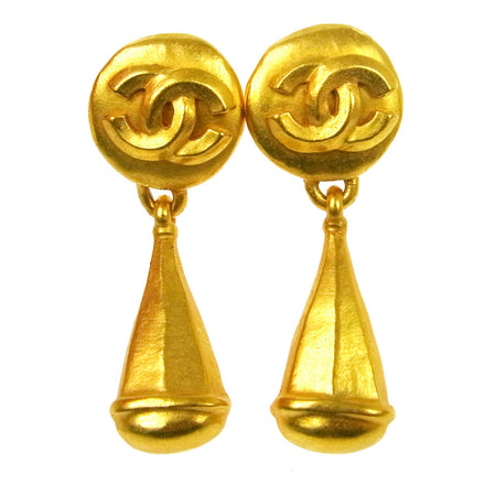 Chanel Vintage Gold CC Teardrop Clip-On Earrings