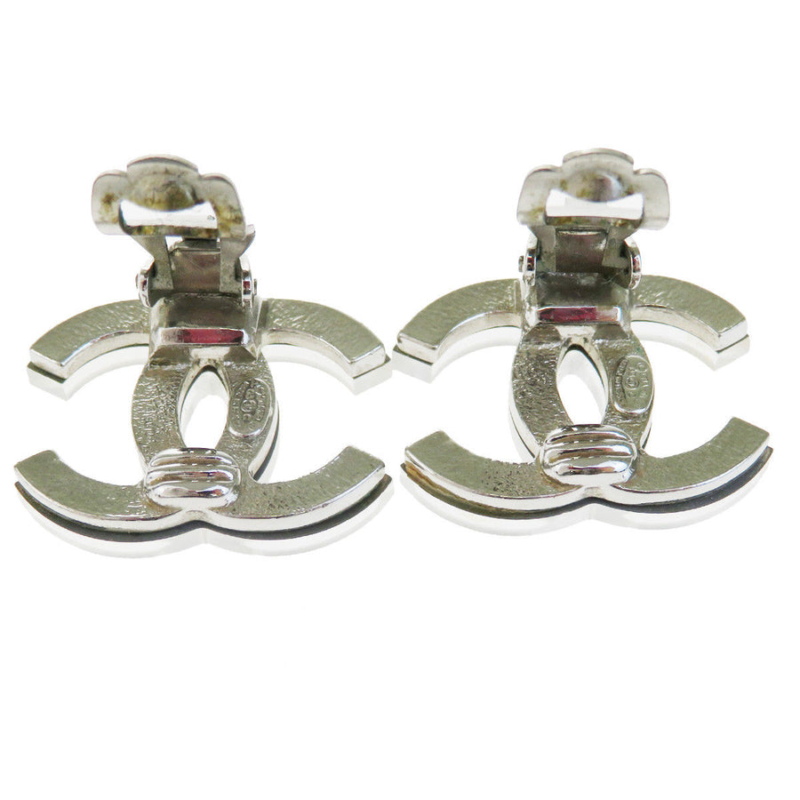 Chanel CC Logo Silver Plated Enamel Clip on Earrings