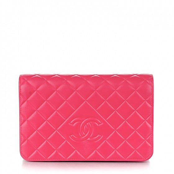 Chanel Diamond Quilted Fuschia Caviar Wallet on Chain WOC Bag