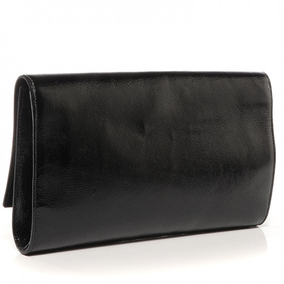 Saint Laurent Black Patent Leather Monogram Kate/Belle De Jour Clutch
