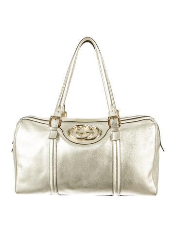 Gucci Gold Metallic Leather Britt Glam Boston Bag