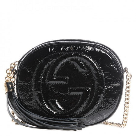 Gucci Black Patent Leather Mini Soho Crossbody Bag