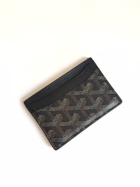 Goyard Black Monogram Coated Cavas Saint Sulpice Card Holder Wallet