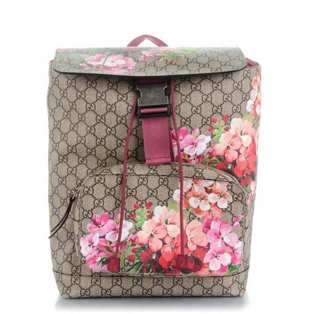 Gucci GG Supreme Monogram Blooms Pink Antique Rose Backpack