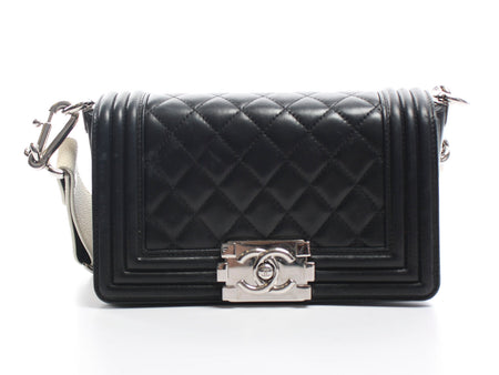 Chanel 2012 Black Lambskin and Sting Ray Strap Old Medium Boy Bag
