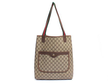Gucci Beige Monogram Canvas Vintage Web Handle Tote Bag
