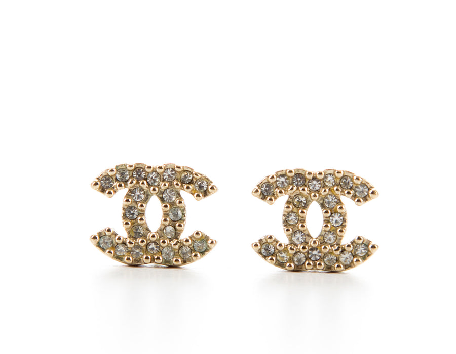 Chanel Gold Rhinestone CC Stud Earrings