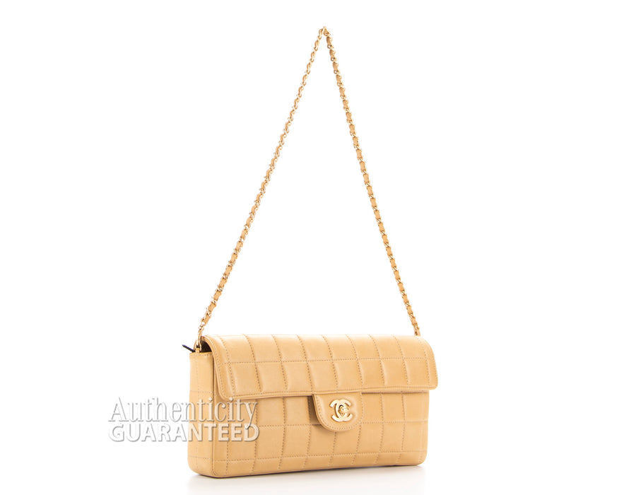Chanel Beige Lambskin Chocolate Bar Covertible Clutch Flap Bag