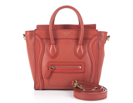Celine Red Smooth Calfskin Leather Nano Luggage Bag