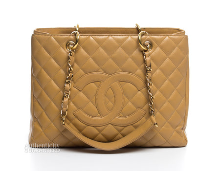 Chanel Beige Caviar Grand Shopping Tote GST Bag