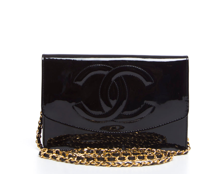 Chanel Black Patent Leather Envelope WOC Wallet on Chain