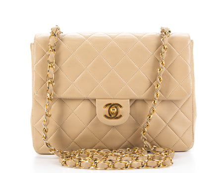 Chanel Beige Lambskin Mini Flap Bag GHW