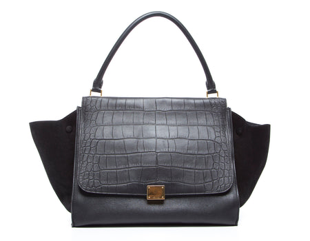 Celine Black Croc Embossed Leather and Suede Trapeze Bag