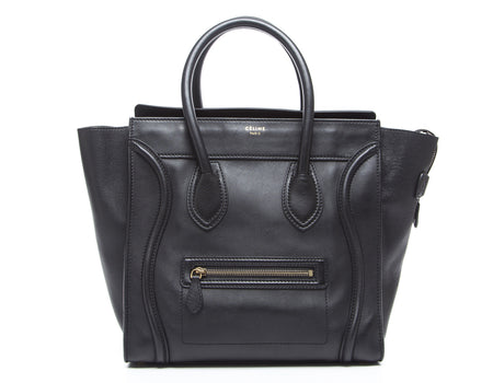 Celine Black Smooth Calfskin Mini Luggage Tote Bag