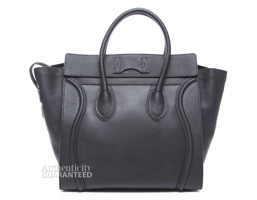 Celine Black Drummed Leather Mini Luggage Bag
