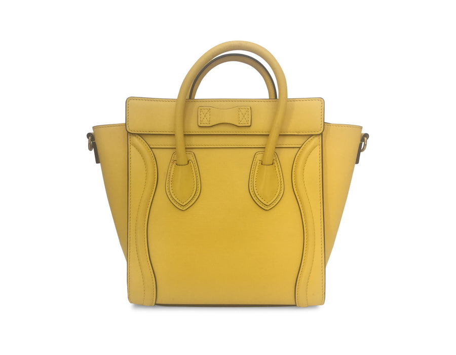 Celine Fluo Yellow Smooth Calfskin Nano Luggage Bag