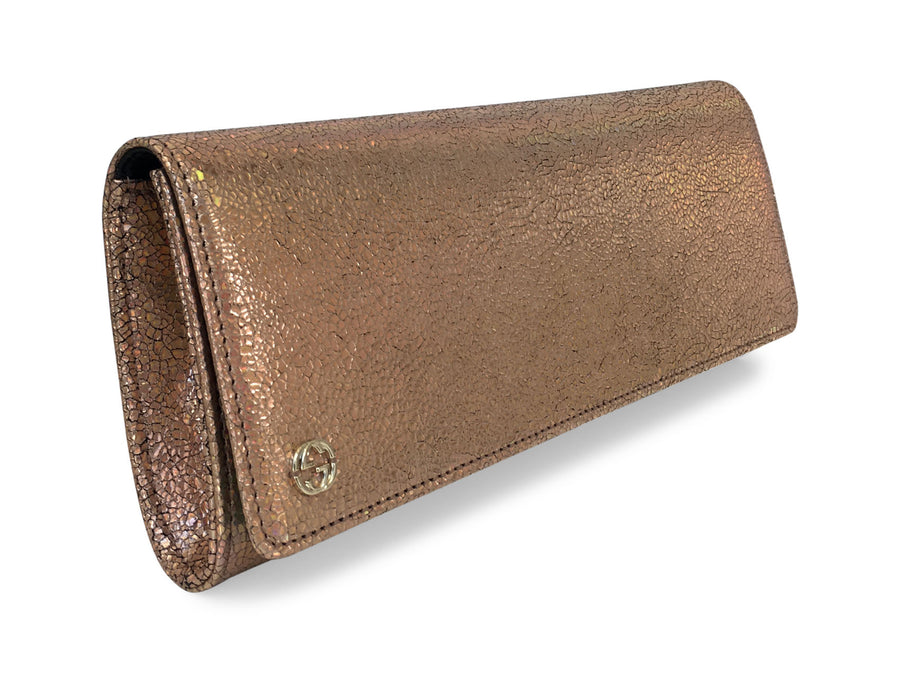 Gucci Crackled Irridescent Rose Gold Broadway Clutch