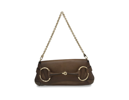 Gucci Brown Gradient Leather 1921 Collection Horsebit Chain Clutch Bag