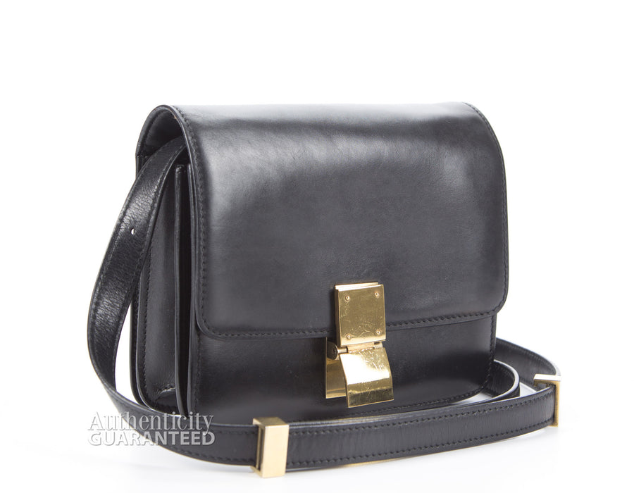 Celine Black Leather Small Classic Box Bag