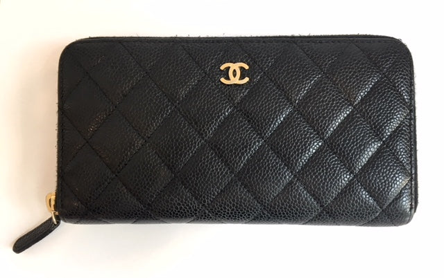 Chanel Black Quilted Caviar L-Gusset Zip Wallet, GHW
