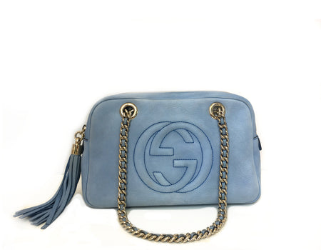 Gucci Baby Blue Sueded Soho Shoulder Bag