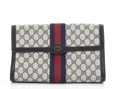Gucci Navy Monogram Canvas Web Stripe Clutch
