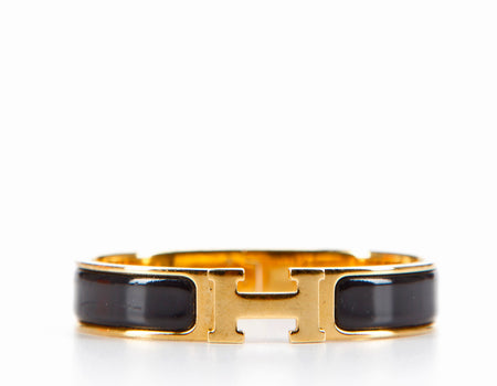 Hermes Black Enamel Gold Narrow Clic Clac PM Bracelet